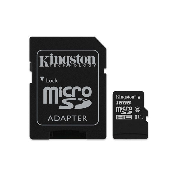 Kingston 16GB  micro SD HC CL10, SDCS/16GB, memóriakártya 1 adapterrel (SDCS/16GB)